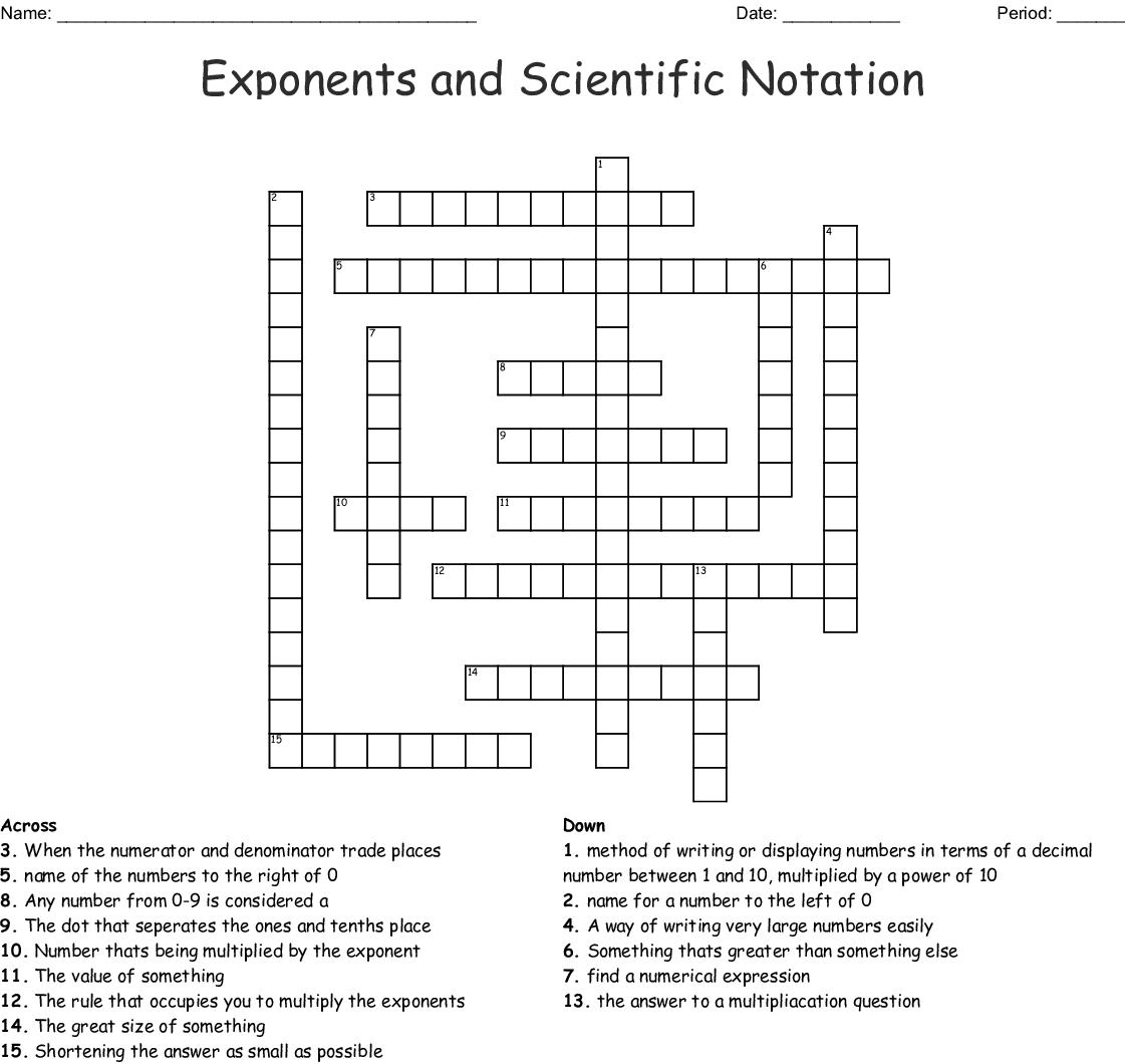 Scientific Notation Crossword