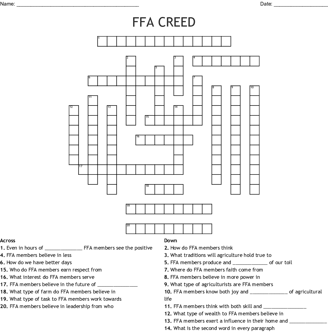 The Creed Crossword