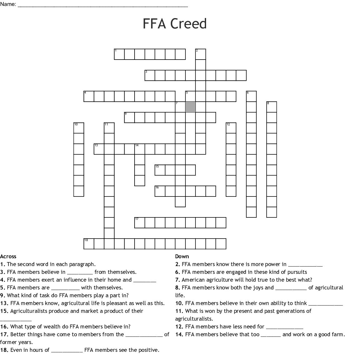 Ffa Creed Word Search