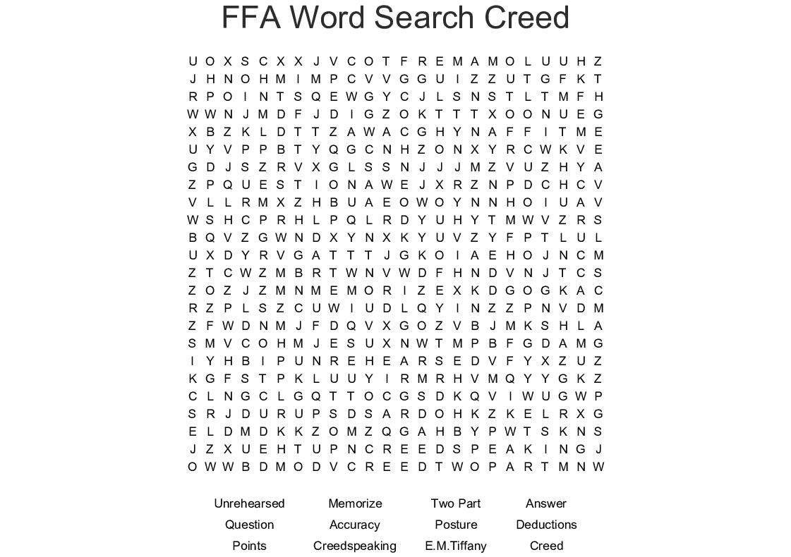 Ffa Word Search Creed