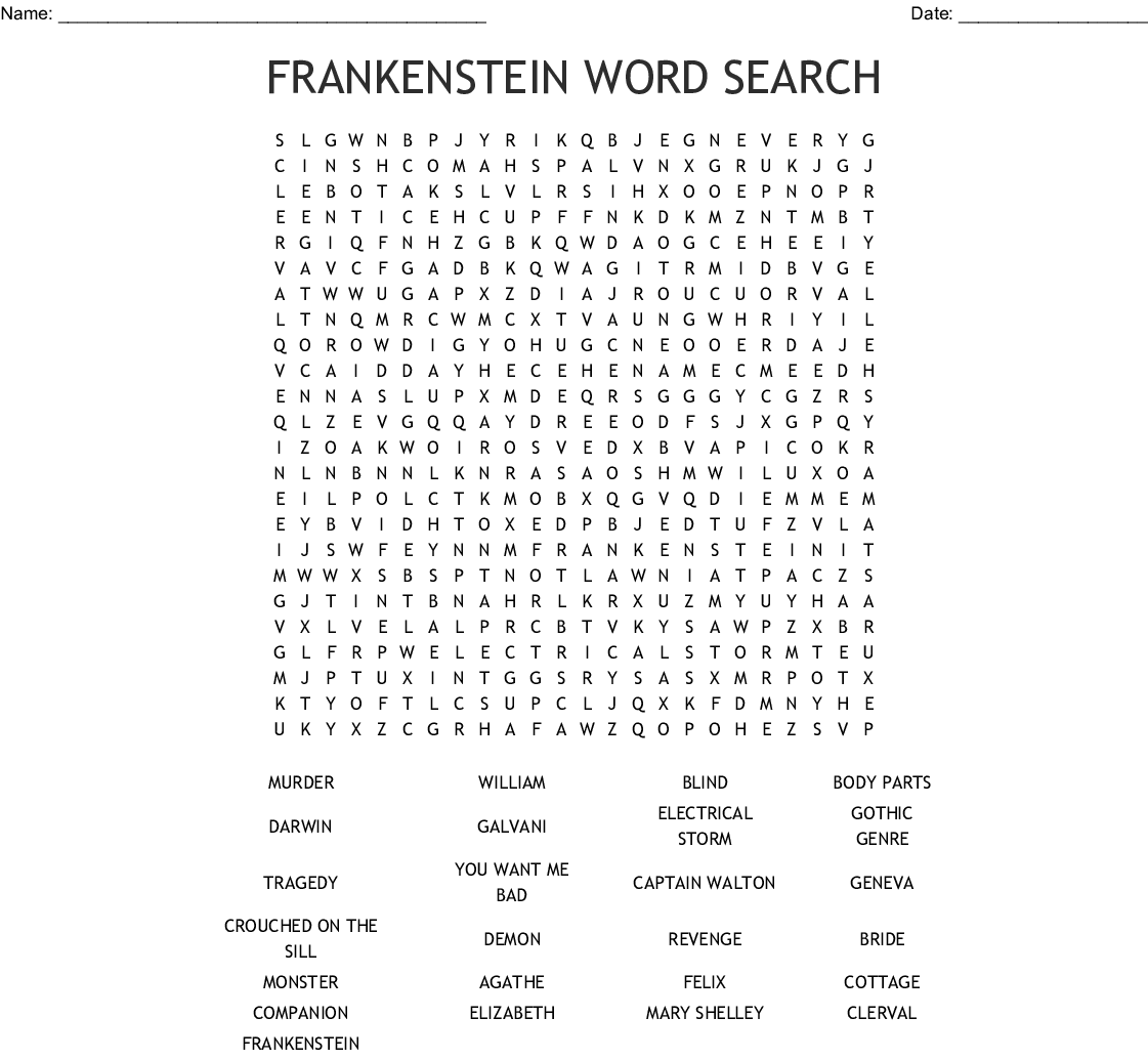 Frankenstein Word Search
