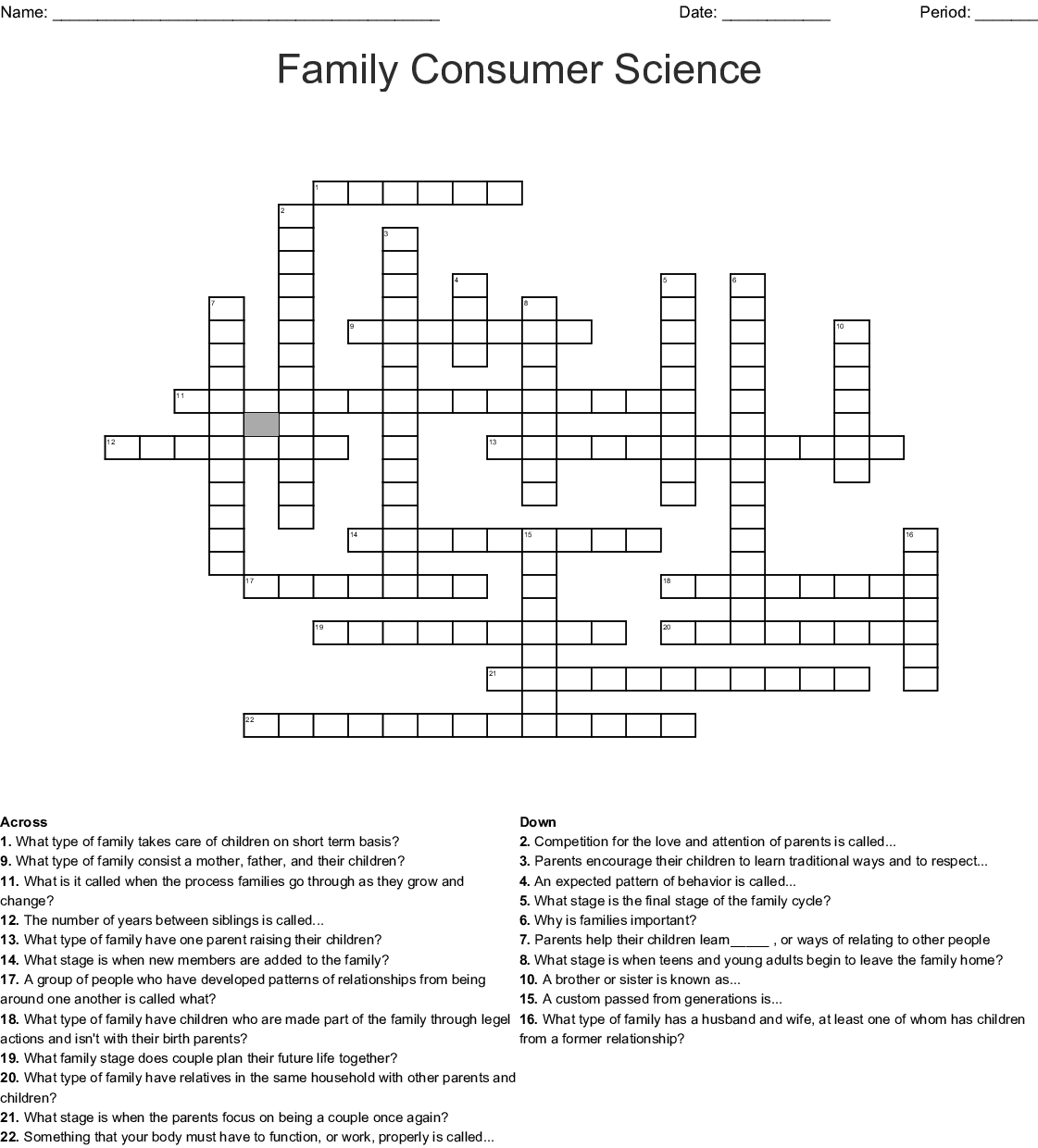 Family Consumer Science Worksheet