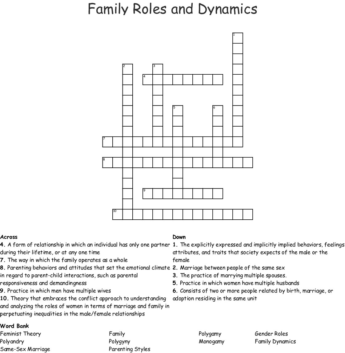 Sociology Unit Iii Worksheet Crossword