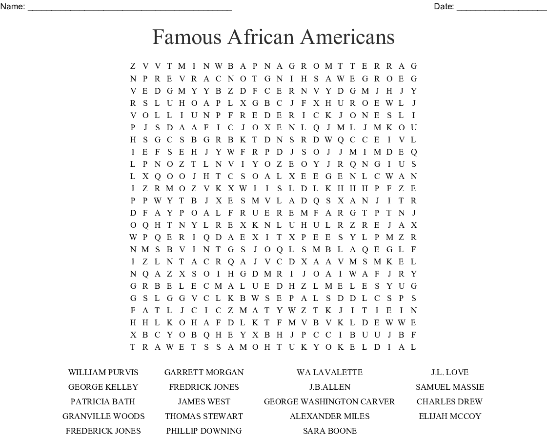 African American Inventors Word Search