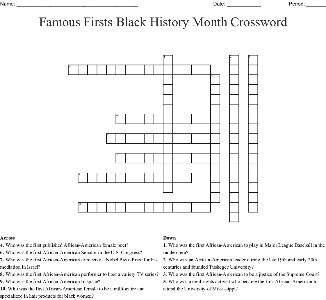 Famous Firsts Black History Month Crossword