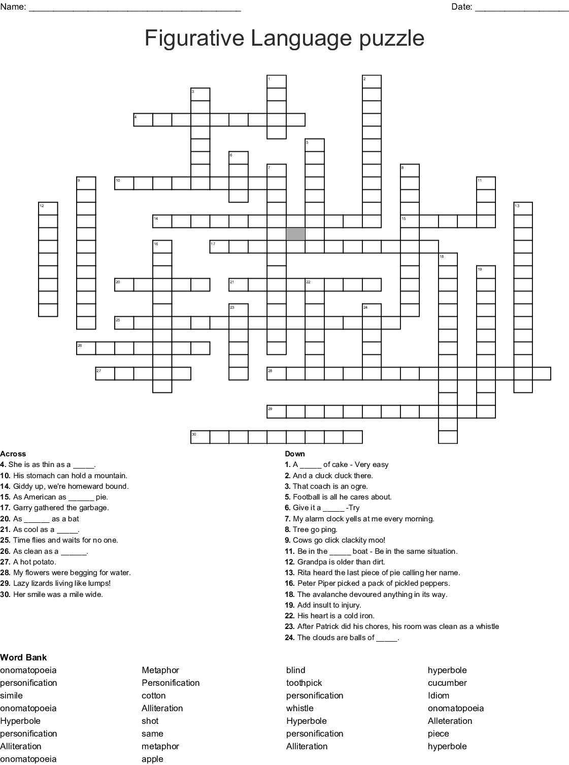 Idioms Crossword