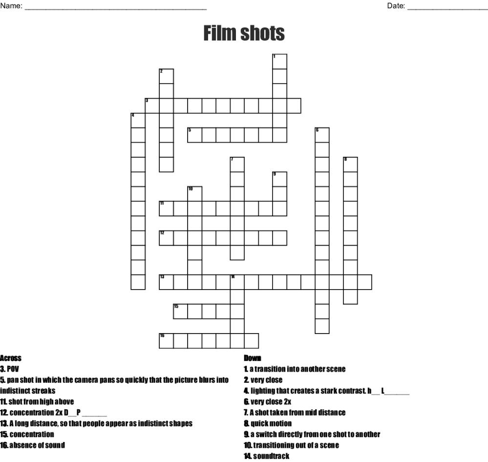 medium resolution of film shots crossword wordmint camera diagram crossword