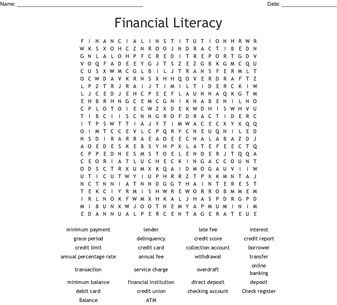 Financial Literacy Word Search