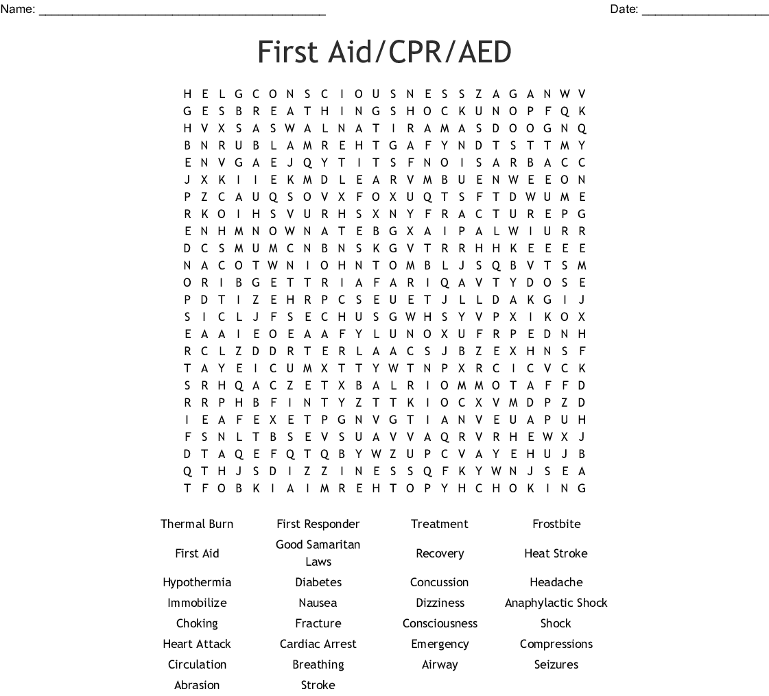 Red Cross First Aid Word Search
