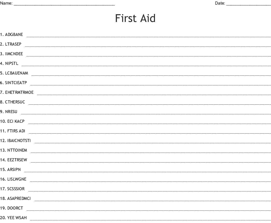 First Aid Kit Word Search