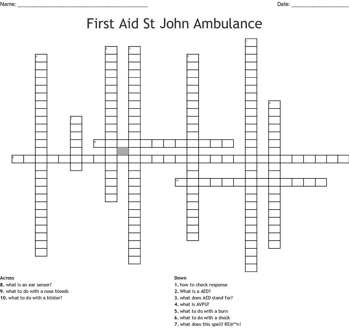 St John Ambulance First Aid Word Search