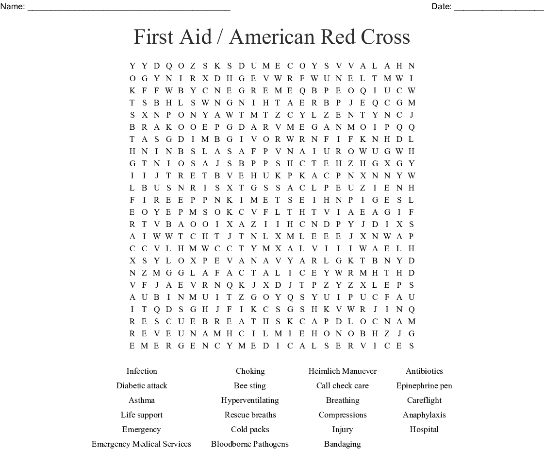 First Aid American Red Cross Word Search
