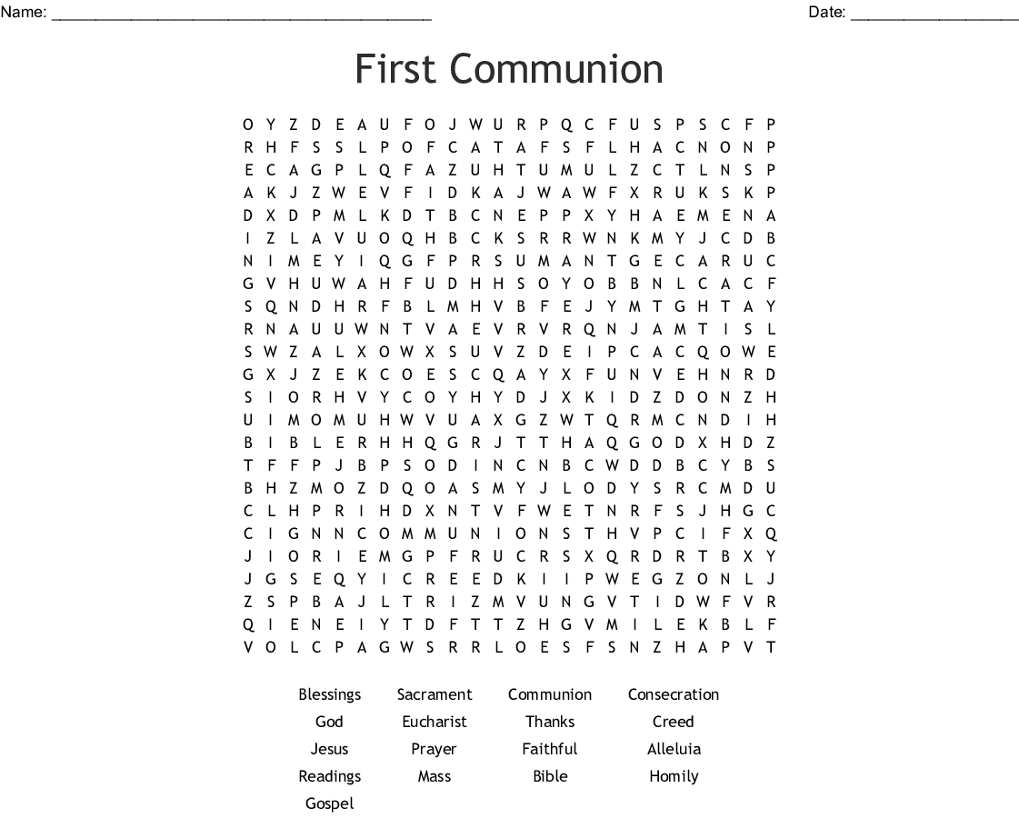 First Communion Word Search