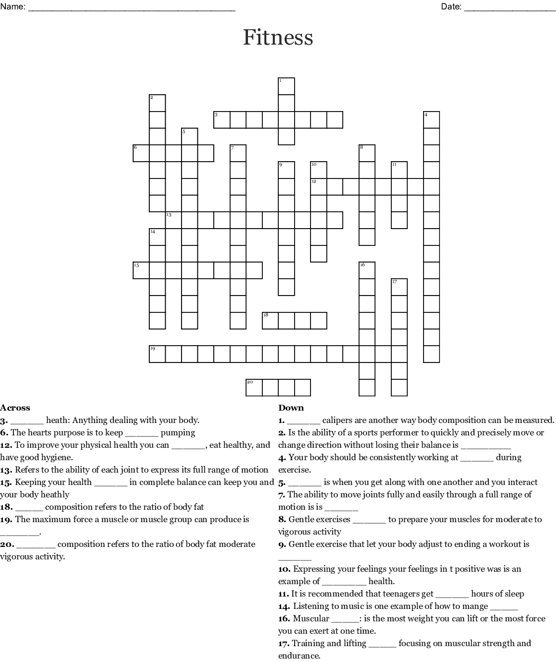 Fitness Crossword
