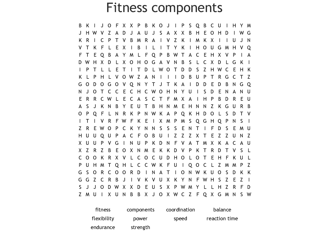 Fitness Components Word Search