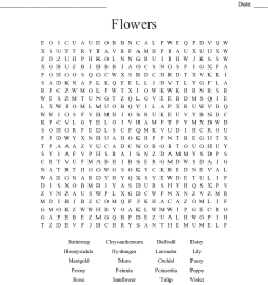 flowers word search [ 1121 x 900 Pixel ]