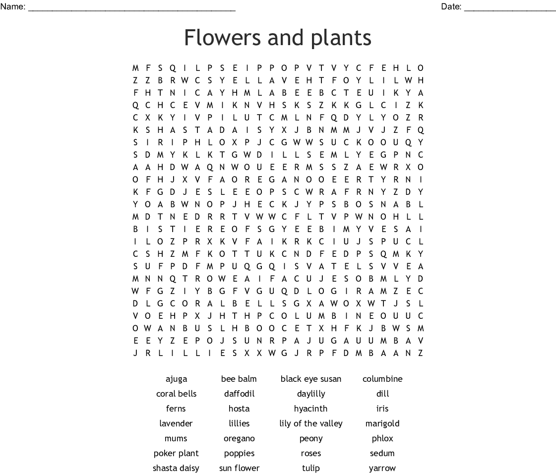 hight resolution of flowers and plants word search