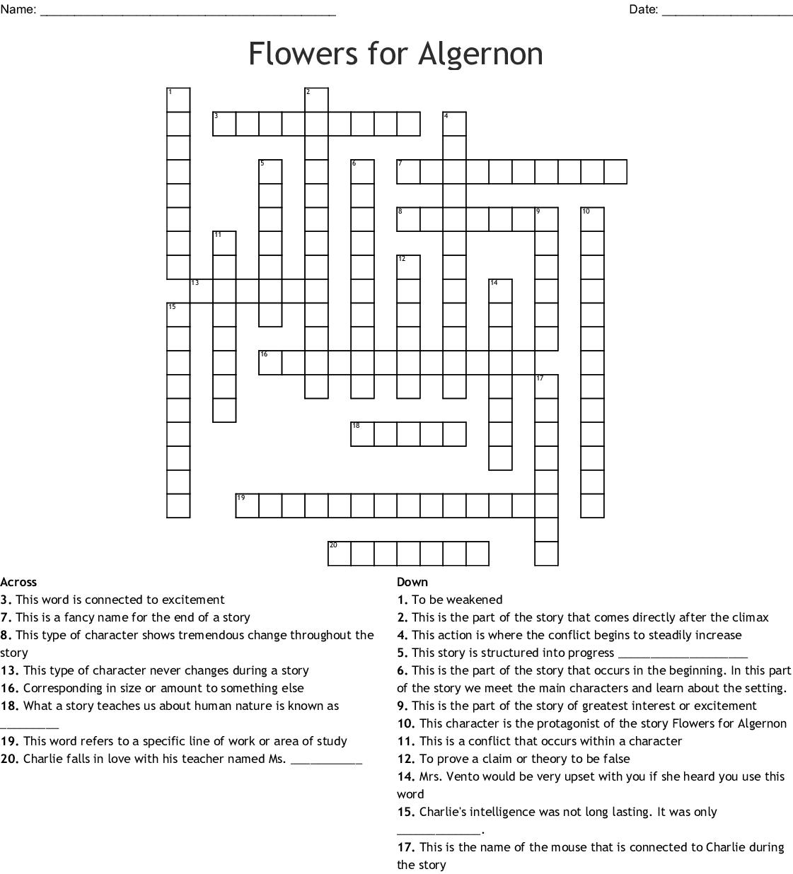 Flowers For Algernon Crossword