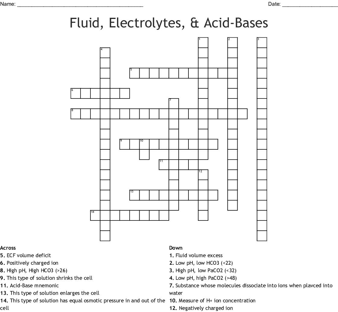 Fluid Electrolytes Amp Acid Bases Crossword
