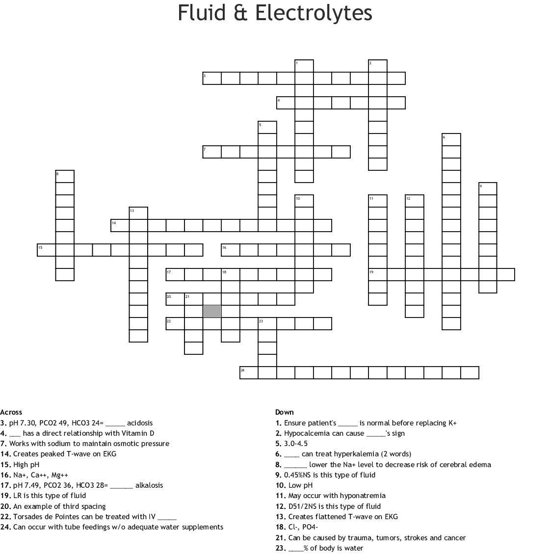 Fluid Amp Electrolytes Crossword