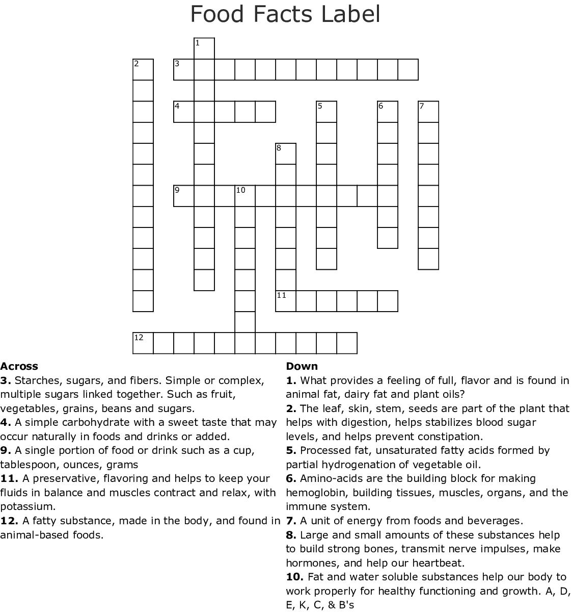 Food Facts Label Crossword