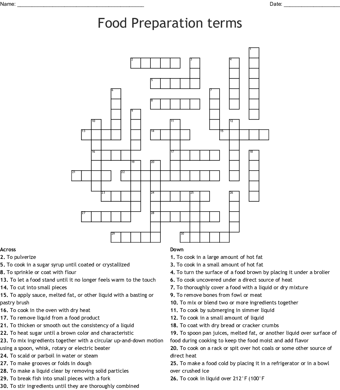 Food Preparation Terms Crossword Answers