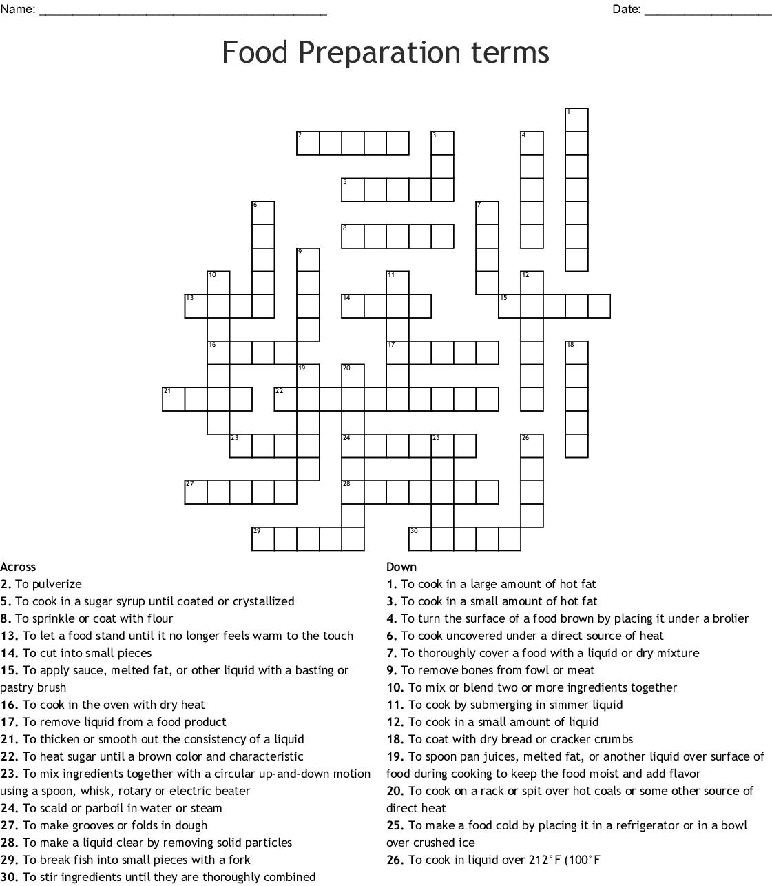 Food Preparation Terms Crossword