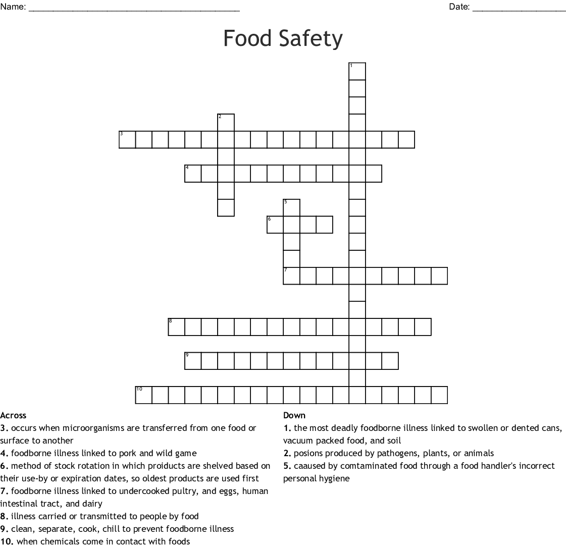 Food Safety Crossword