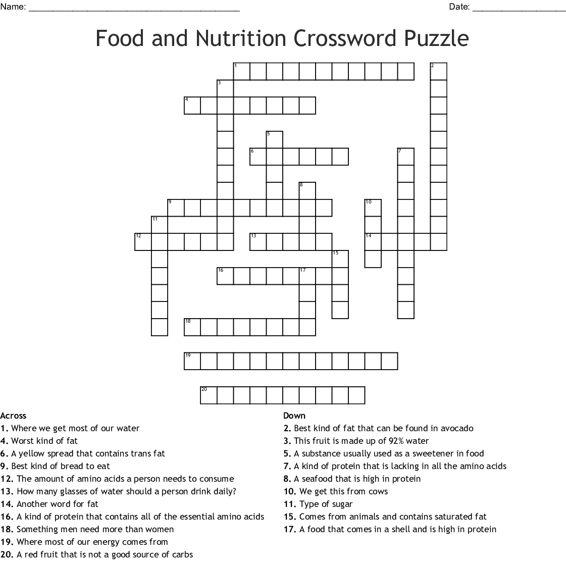 Food And Nutrition Crossword Puzzle