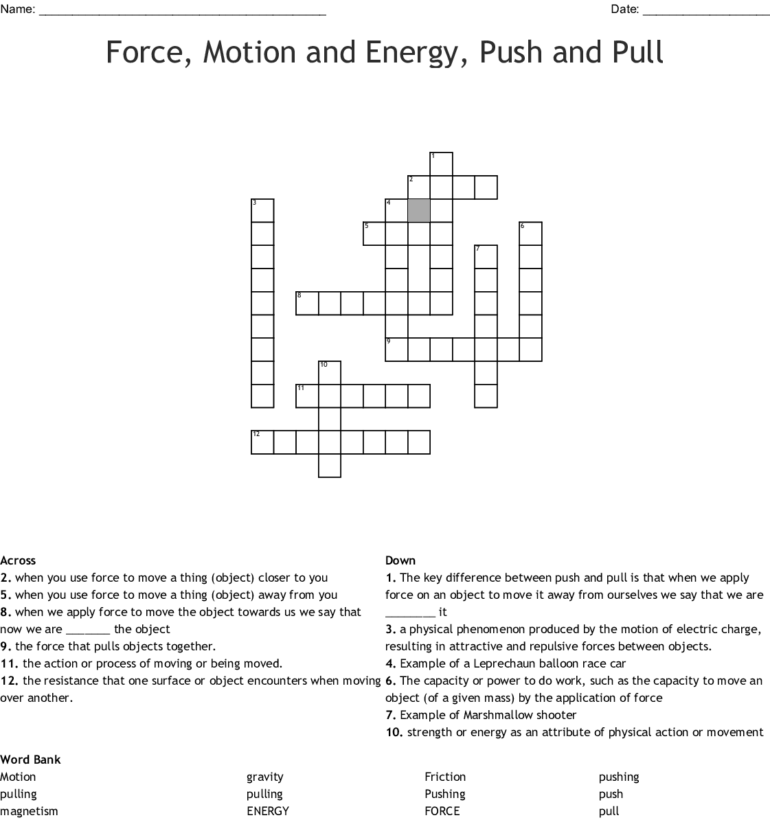 Force Motion And Energy Push And Pull Crossword