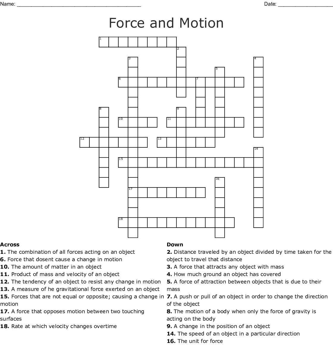 Friction And Gravity Word Search