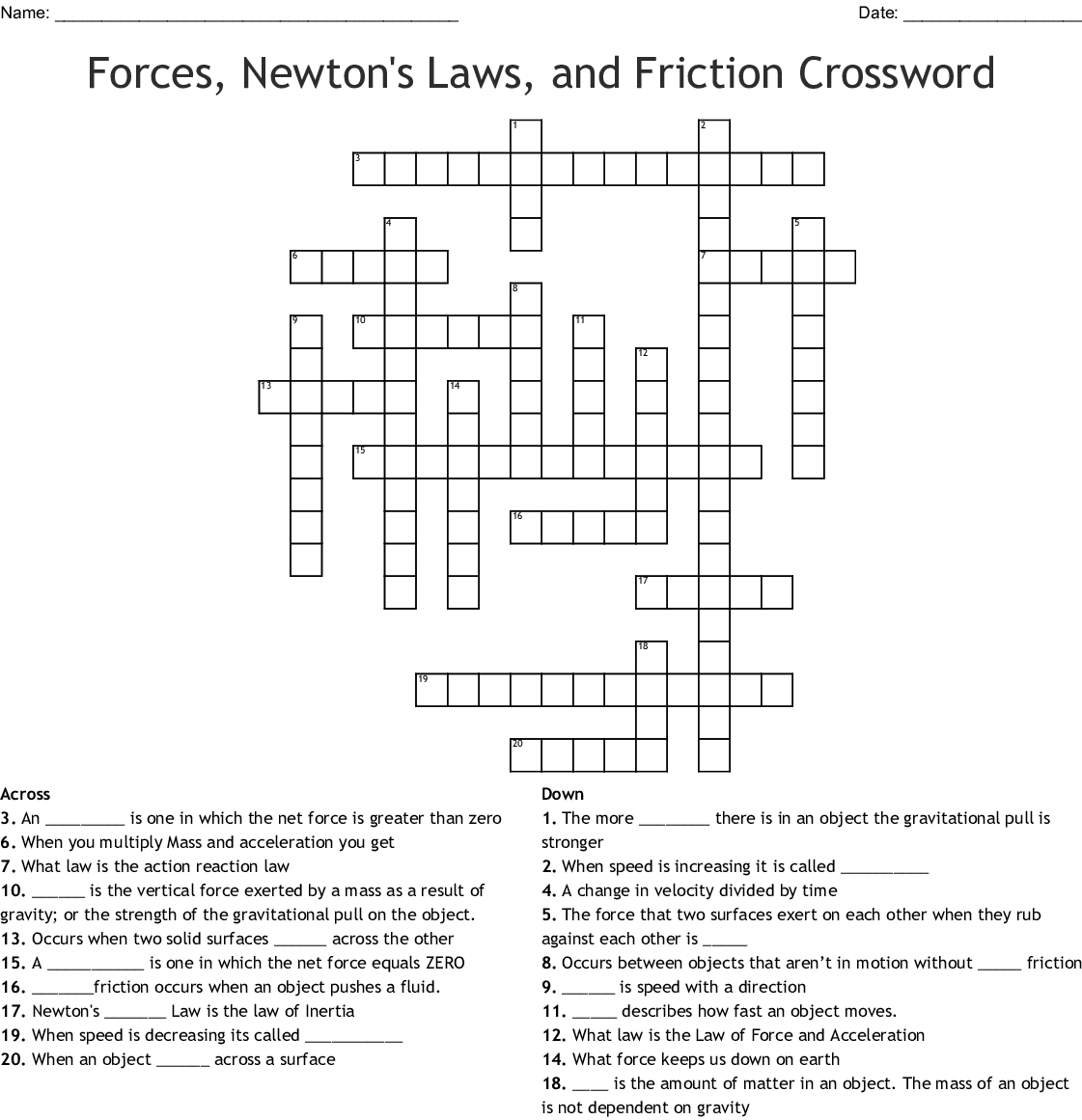 Forces Newton S Laws And Friction Crossword