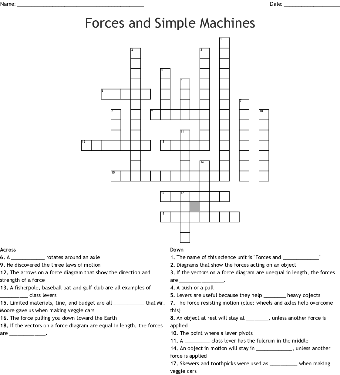 35 Trends For Simple Machines Crossword Puzzle Worksheet
