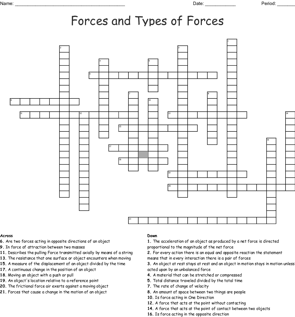 Types Of Force Word Search