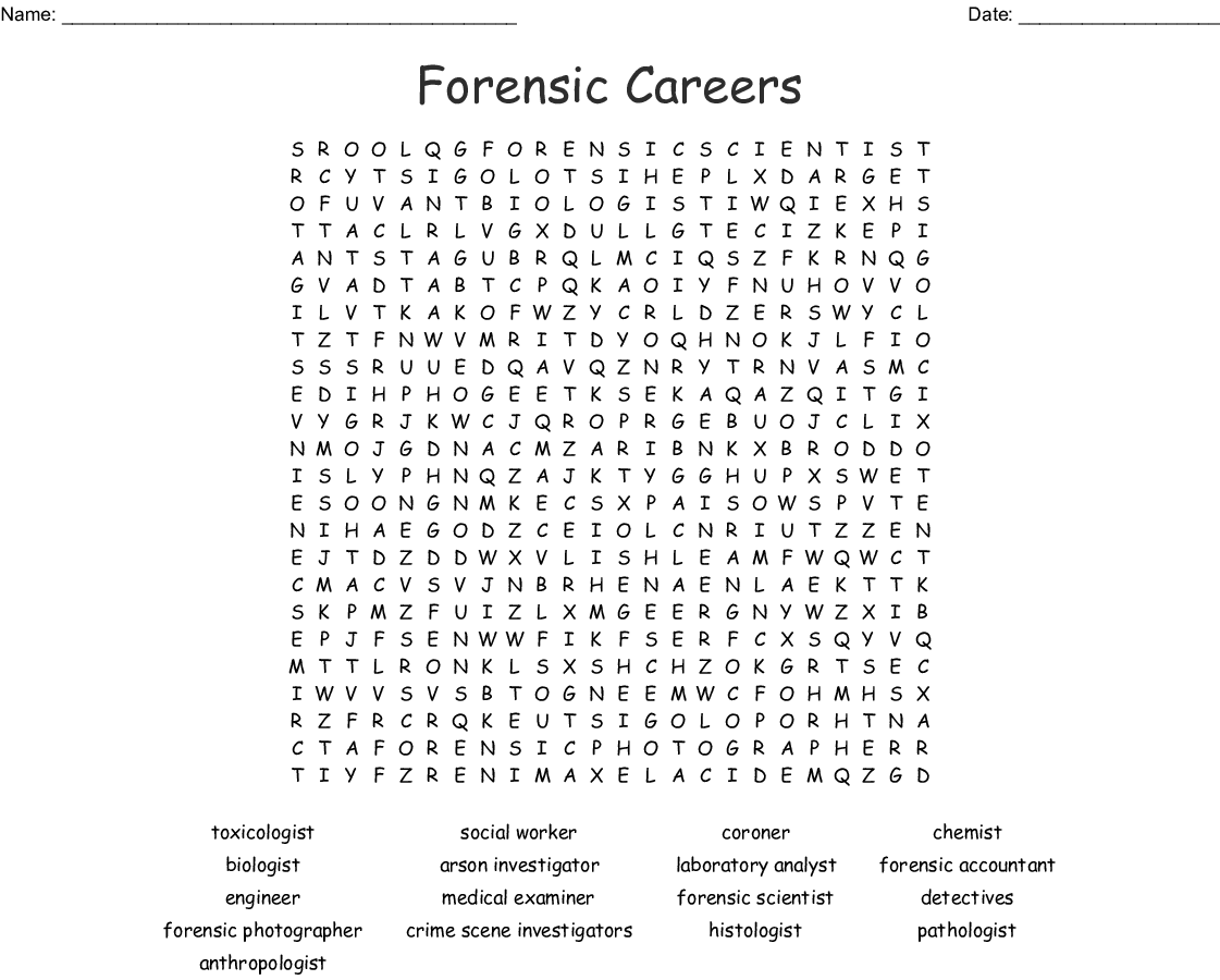 Forensic Careers Amp Professionals Word Search