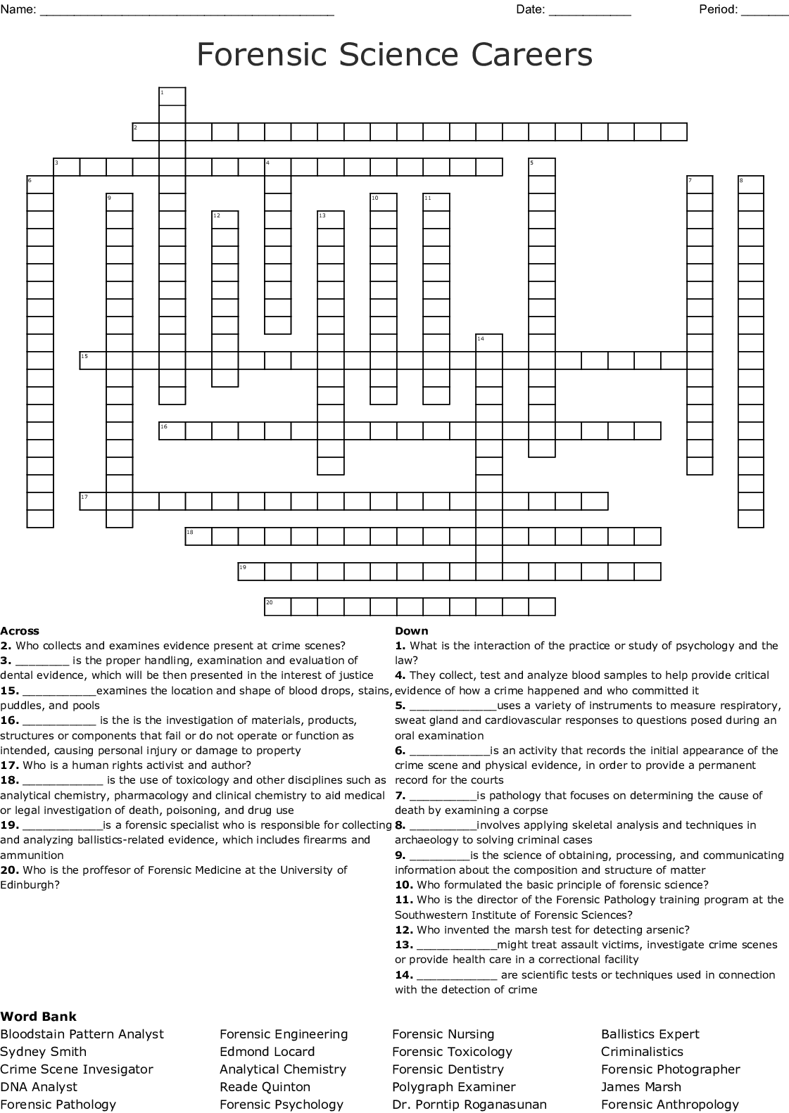 Forensics And Criminolgy Word Search