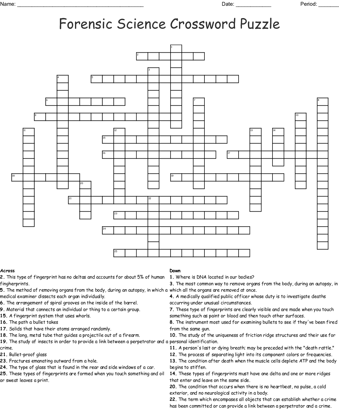 Forensic Science Crossword Puzzle