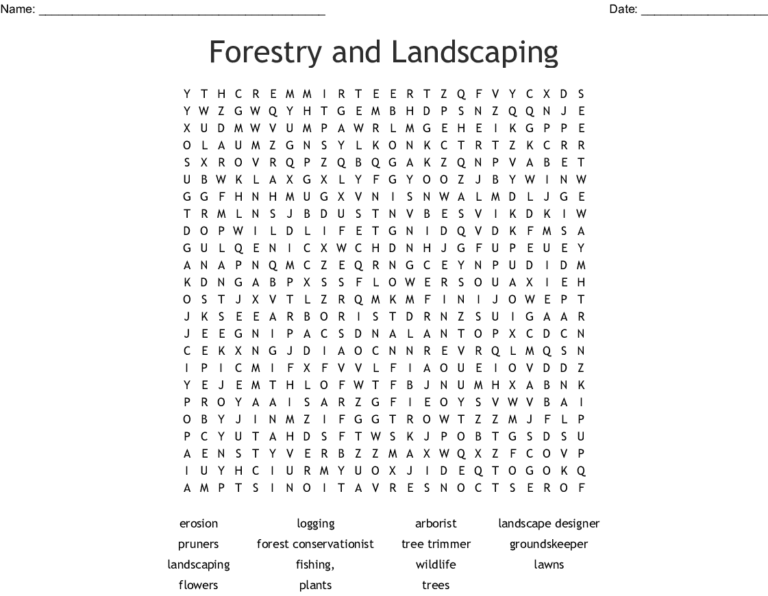 Forestry And Landscaping Word Search