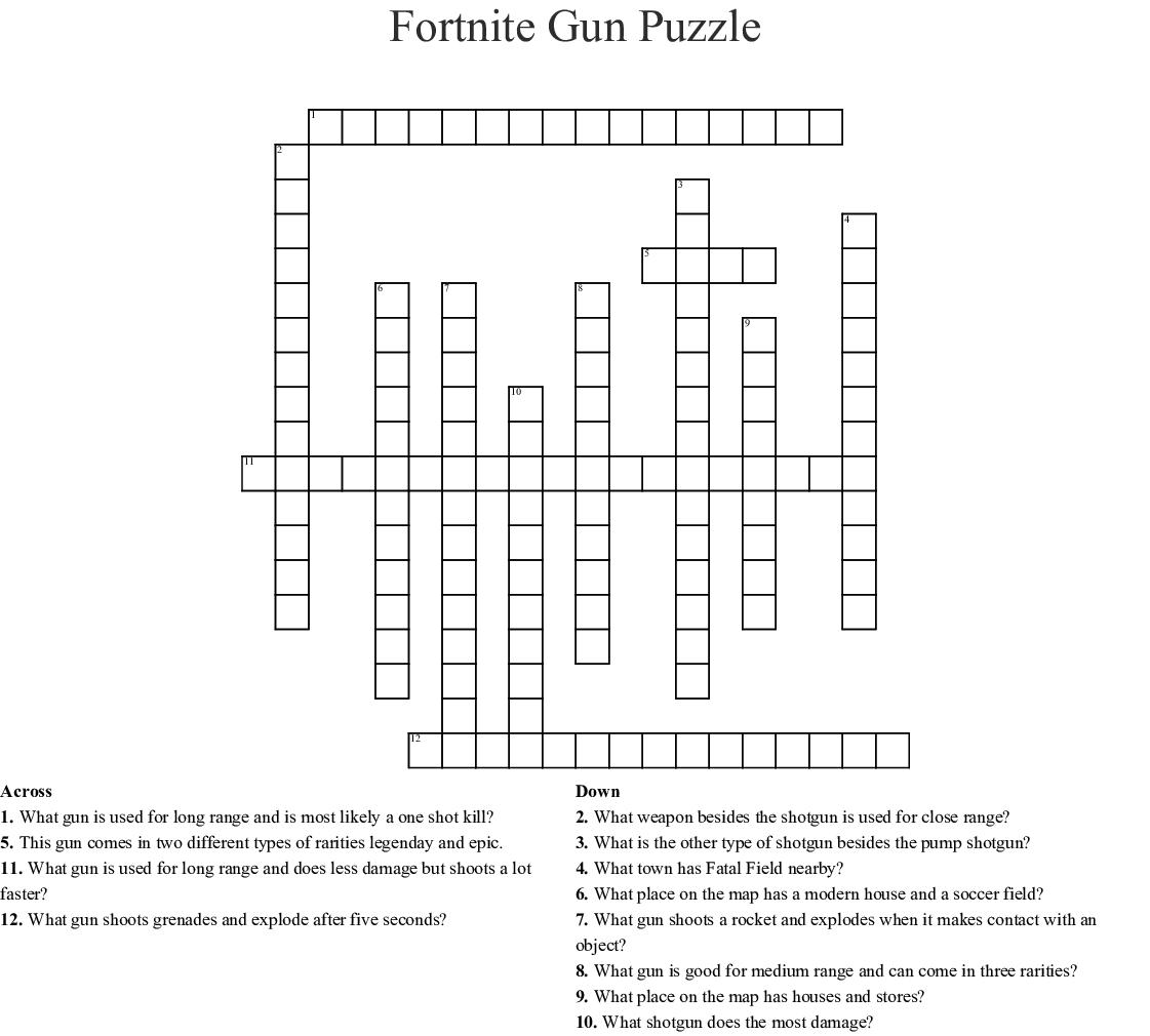 Fortnite Crossword Puzzle