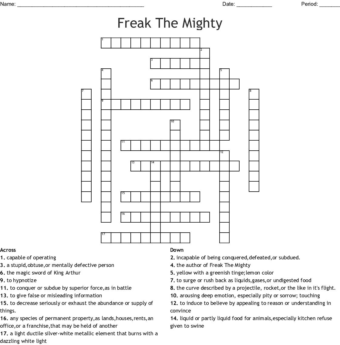 Freak The Mighty 5 7 Vocabulary Crossword