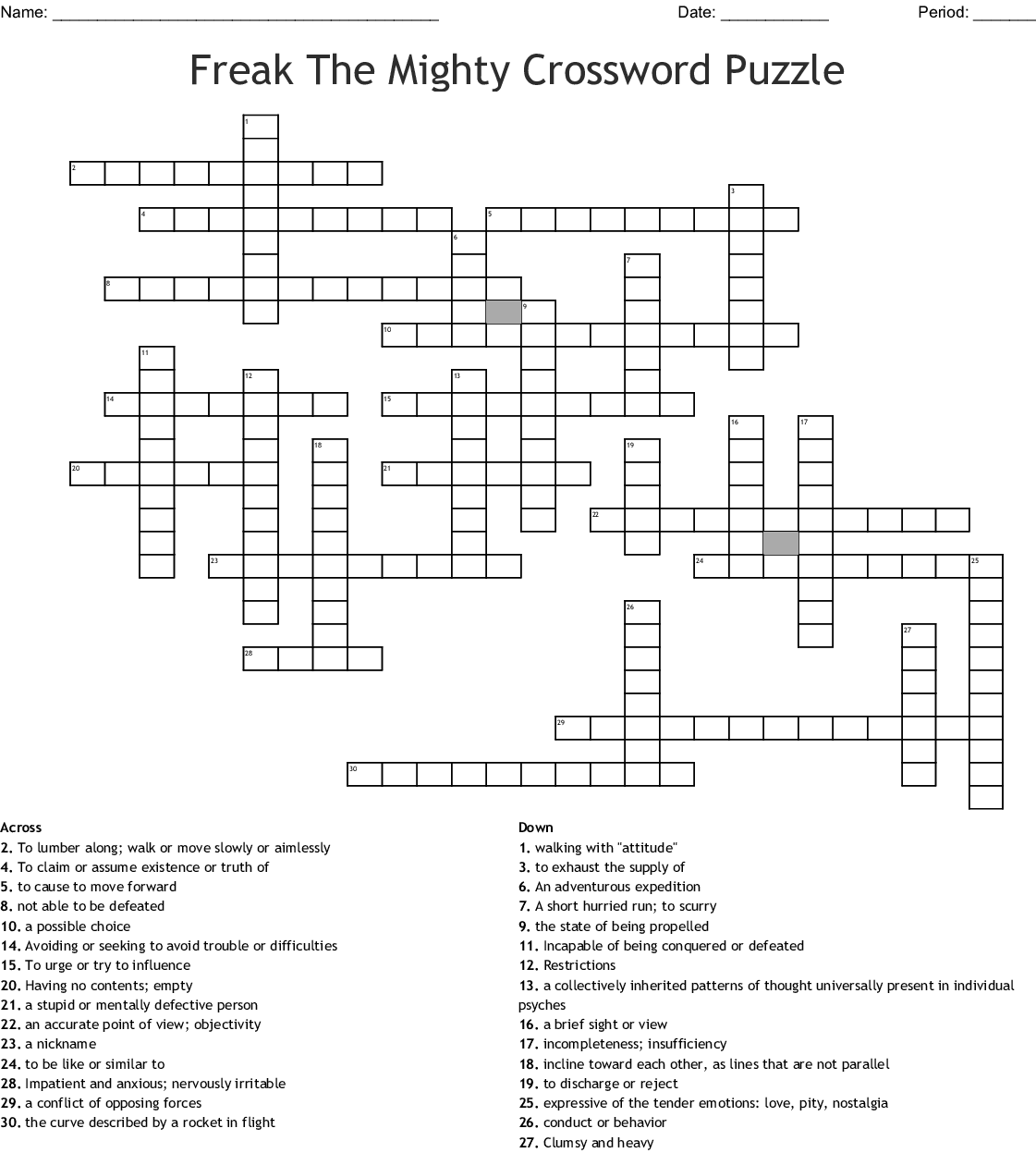1 7 Freak The Mighty Crossword
