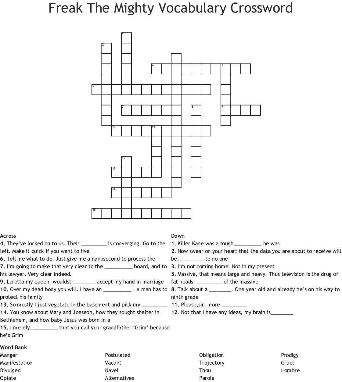 Freak The Mighty Vocabulary Crossword