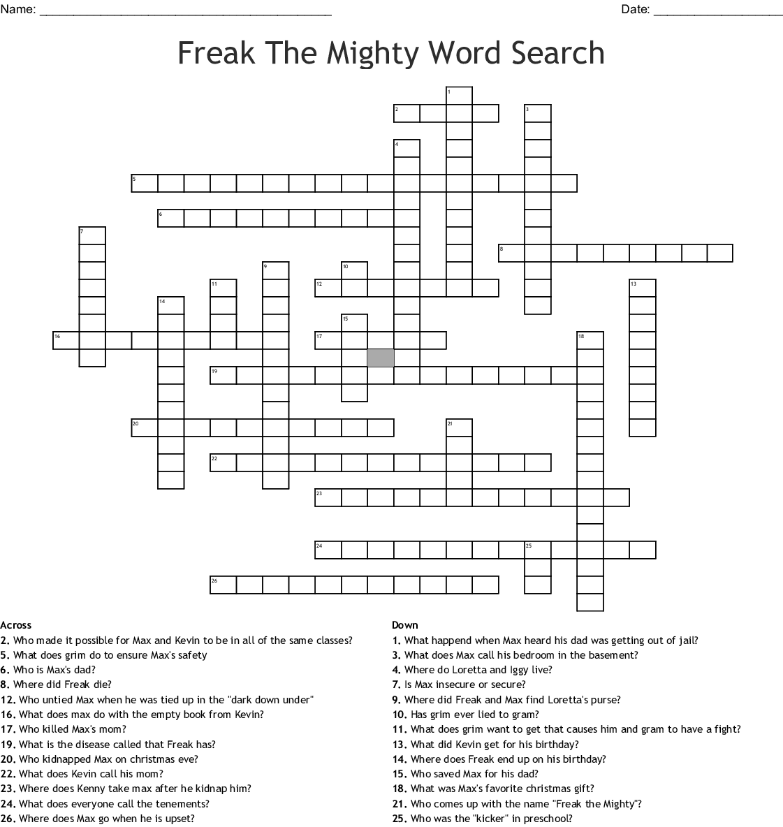Freak The Mighty Word Search Crossword