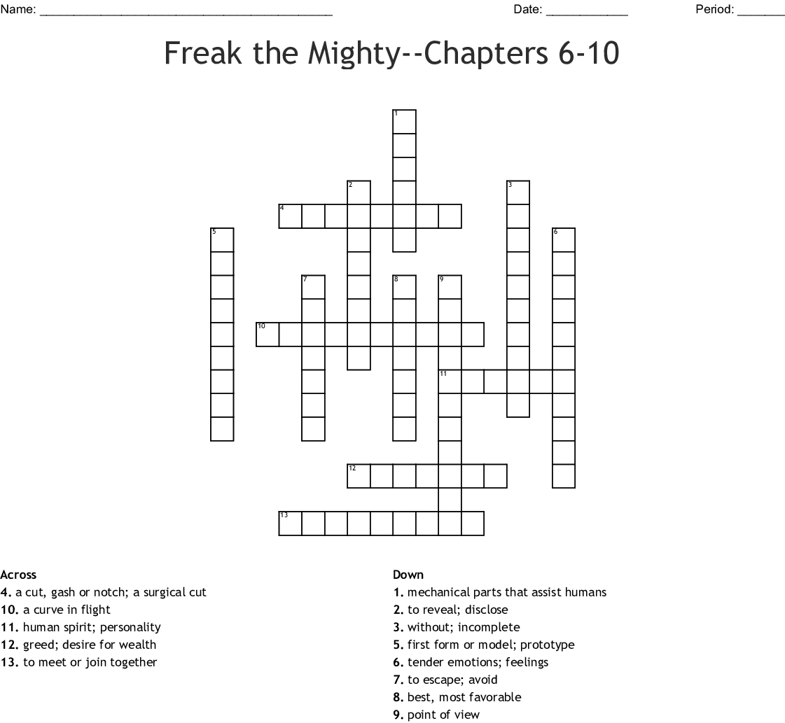 Freak The Mighty Chapters 9 Amp 10 Word Search