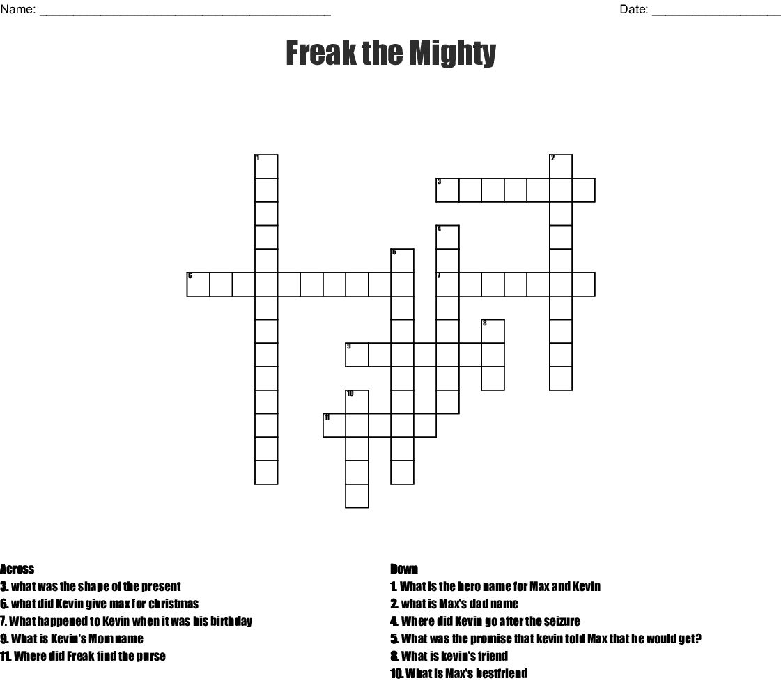 Freak The Mighty Worksheets