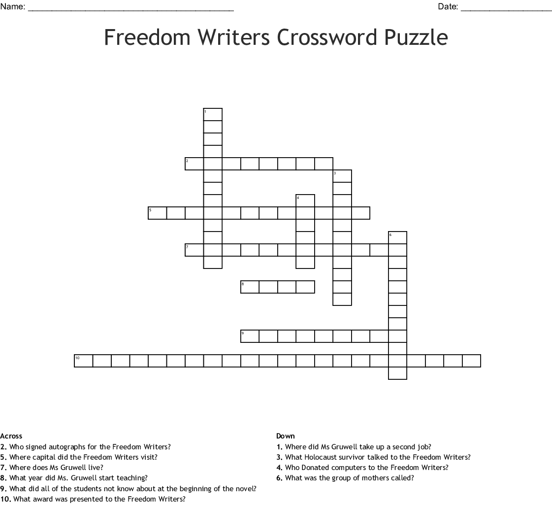 Freedom Writers Word Search