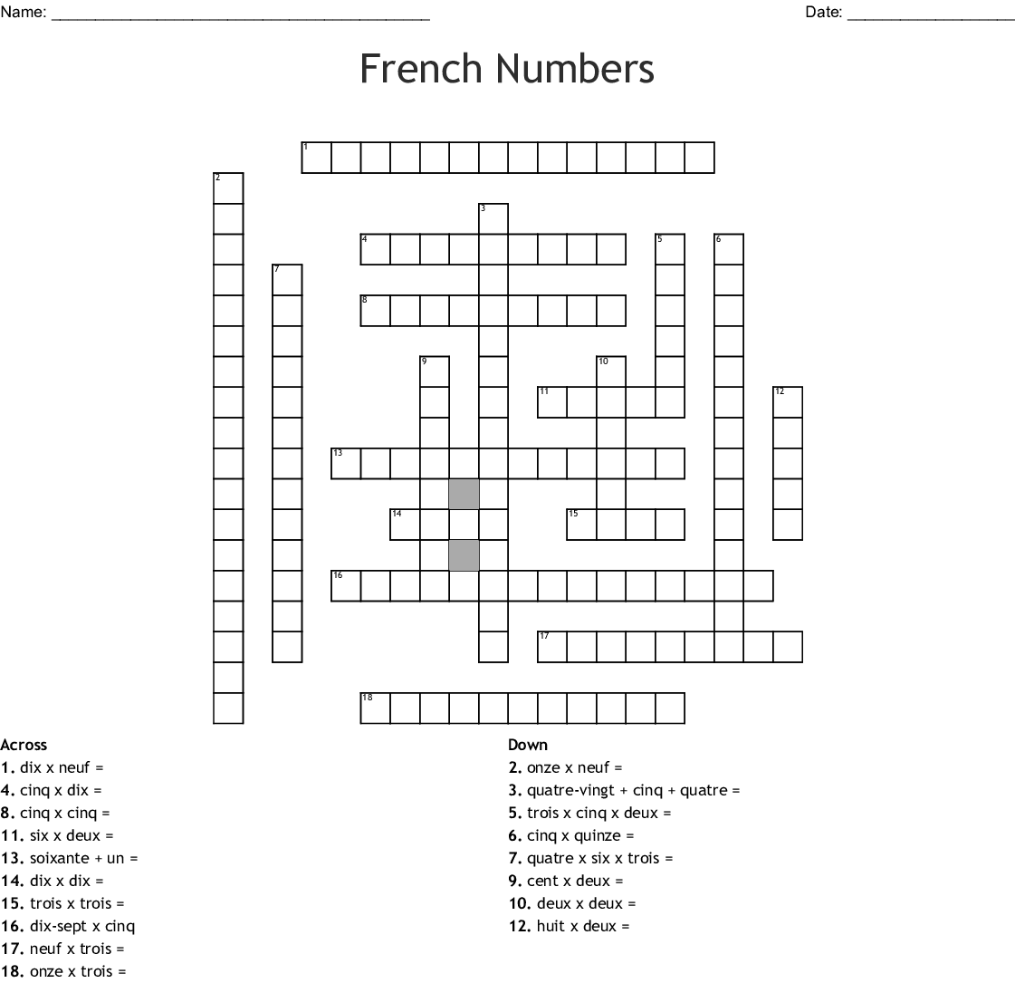French Numbers 1 20 Word Search