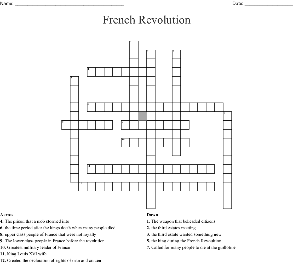 French Revolution Crossword