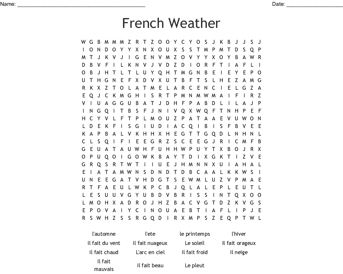 French Weather Words Word Search