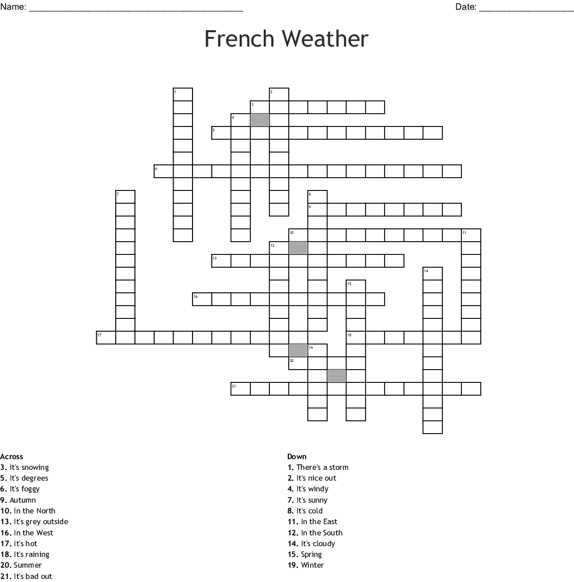French Weather Crossword